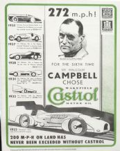 BLUE BIRD Sir Malcolm Campbell. 272mph!  CASTROL LAND SPEED RECORD reproduction poster